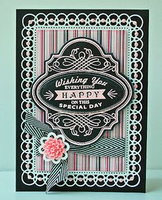 Margie Higuchi - Birthday Vintage Labels Four Card with a full tutorial.