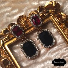 """✨ t+j Designs """"Black & Ruby Drop Earring"""" NOW IN STOCK! ONLY 5 AVAILABLE!   Please do not purchase this listing. If you would like a pair, let me know and I will create your personal listing.   These sophisticated gemstone drop earrings with rhinestone trim add a touch of glam to any look!  - Gold plated - Nickel and lead free - Drop post earrings with glass crystals - 1.5"""" drop  These earrings retail for $32, but to defray the cost of shipping, I have reduced the list price.    Photo…"""