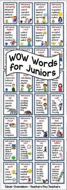 Synonyms - 40 WOW Words Posters at Teachers Pay Teachers - Perfect for the word wall or print four to a page and loop together with hinged rings.