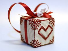 Love Heart decor. weddings gift heart cube red by XOstitch