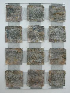 Textile Work | Deborah Rehmat Dyed and stitched paper and fabric. Each unit includes handwritten text, taken from the Book of the Lover