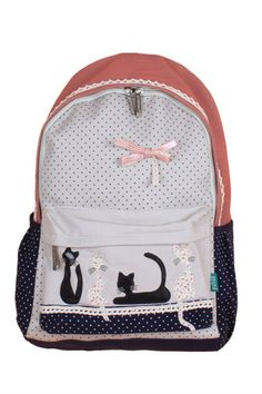 Vintage Pink Dot Lace Cat Canvas Backpack