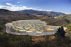An alien-like crystalline lake with some of the highest concentrated mineral deposits in the world.  Hidden deep in the North: between Osoyoos and Cawston-Keremeos in BC, a very weird place, got full of color when wet. Each circle have is own color.
