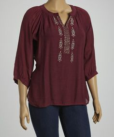 Look what I found on #zulily! Magenta Embroidered Peasant Top - Plus by IRE #zulilyfinds