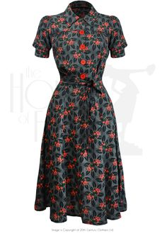1940s Vintage Style Shirt Waister Dress Busy Lizzie