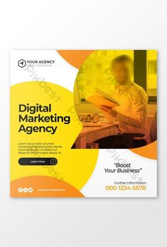 Digital business marketing social media banner or square flyer#pikbest# Social Media Banner, Social Media Design, Cover Template, Banner Design, Business Marketing, Find Image, Digital Marketing, Learning, Cape Pattern