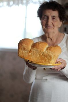 Homemade bread- reminds me of the old Yia-yias in Greece. Mmm, the smell of homemade warm bread.
