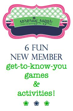 New members mean new member retreats, meetings and sisterhood activities! Help your pledges get to know each other, and the chapter get to know the new girls, with some fun 'get aquatinted' games. These ice breakers and bonding games will assist everyone in making a closer connection! <3 BLOG LINK: http://sororitysugar.tumblr.com/post/96312008789/6-new-member-get-to-know-you-games#notes