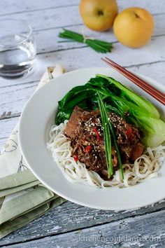 Slow Cooked Korean Short Ribs with Noodles- I would substitute braggs liquid aminos for the soy sauce to cut the sodium & switch to brown rice udon noodles for the added fiber :)