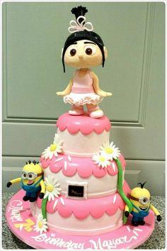 Ballerina  and   Minions Cake ~ all edible