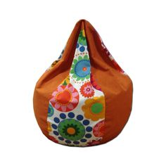 Flowers and orange - drop shaped beanbag chair cover by sinaigabi on Etsy
