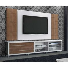 Rack Arezzo com Painel para TV Zeus Champagne/Coffe - Fiasini Tv Cabinet Design, Tv Wall Design, Home Theather, Lcd Panel Design, Tv Wall Cabinets, Modern Tv Wall Units, Tv Wand, Colorful Apartment, Living Room Tv Unit Designs