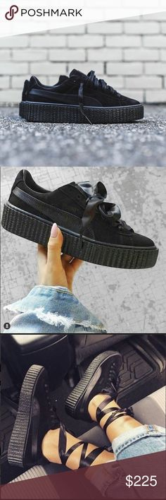1140874cda1917 Puma x Rihanna Creepers in Black Satin Puma x Rihanna Creepers in Black  Satin. Brand