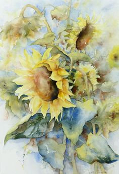 Blumenaquarelle – Aquarelle von Marlis Mörker - Sites new Watercolor Pictures, Watercolor Cards, Abstract Watercolor, Watercolor Paintings, Watercolors, Sunflower Art, Watercolor Sunflower, Watercolor Flowers, Watercolor Projects