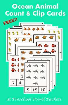 {FREE} Preschool Ocean Animals Count & Clip Cards | Preschool Powol Packets