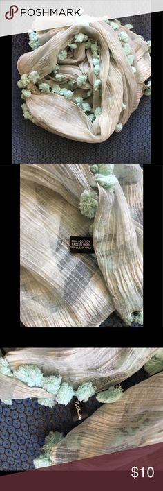 "Sea foam sheer scarf 76"" x 24""  sheer, cotton/silk blend with Pom Pom fringe. Worn twice. la fioretina Accessories Scarves & Wraps"