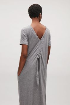 COS image 3 of Jersey dress with drawstring back in Grey