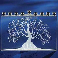 ETCHED CRYSTAL RECTANGULAR TREE OF LIFE MENORAH