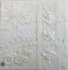 I ❤ crazy quilting & embroidery . . .  White to Birgit ~By Helinacq
