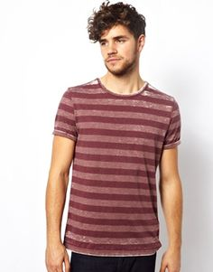 New Look T-Shirt in Burn Out Stripe