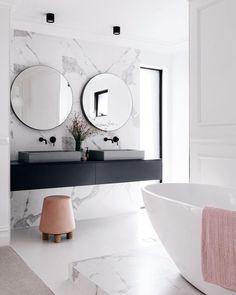 Most Popular Black Bathroom Design Ideas Bathroom Design Inspiration, Modern Bathroom Design, Bathroom Interior Design, Modern Interior Design, Design Ideas, Modern White Bathroom, Bathroom Black, Bathroom Designs, Black Bathroom Furniture