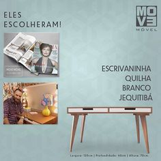 A revista Claudia e o designer de interiores Marcelo Rosenbaum escolheram para o home office a Escrivaninha Quilha Branco Jequitibá Da Move Móvel.