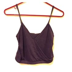 Crop top Barely worn dark purple, wrap crop top! LA Hearts Tops Crop Tops