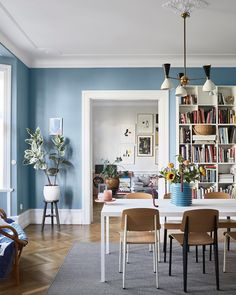 A Scandinavian Apartment Decorated in Blue and Grey Tones Blue tone paint for Mom's room. The Nordroom – A Scandinavian Apartment Decorated in Blue and Grey Tones Small Apartment Design, Apartment Interior Design, Small Apartments, Home Interior, Small Apartment Decorating, Small Loft Spaces, Swedish Interior Design, Lovely Apartments, Interior Colors