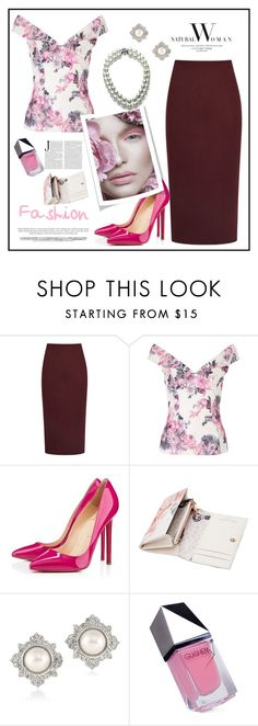 """""""Burgundy Pencil Skirt - Contest"""" by biange ❤ liked on Polyvore featuring Iva, Christian Louboutin, Ted Baker, Carolee, GUiSHEM and Bling Jewelry"""