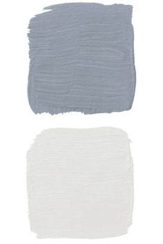 """""""Start with a base in Swedish blue-gray and lightly brush over it with white, pulling back with steel wool in spots to reveal more color."""" -Brian McCarthy Pictured, Slate (top) and Oyster White (bottom), both by Old Fashioned Milk Paint Co. Blue Gray Paint Colors, Blue Grey Walls, Blue Accent Walls, Wall Colors, Neutral Paint, Paint Colours, Accent Colors, House Colors, Gray Painted Furniture"""