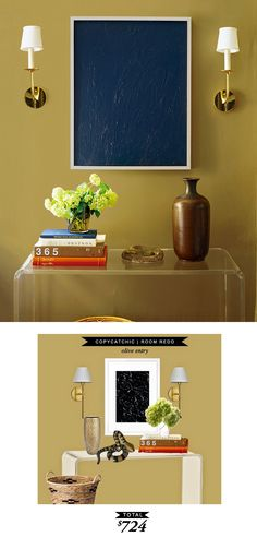 A bold mustard colored entryway gets recreated for $724 by @lindseyboyer for Copy Cat Chic