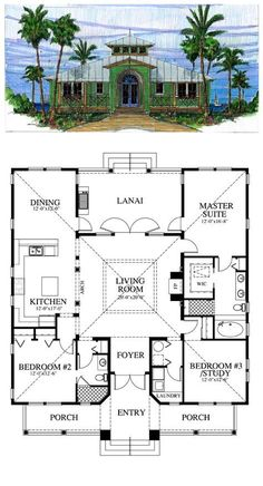 Style House Plan Number 73603 with 3 Bed, 2 Bath First Floor Plan of Coastal Southern House Plan 73603 I. Ancient Roman atrium style houseFirst Floor Plan of Coastal Southern House Plan 73603 I. Beach House Plans, Dream House Plans, My Dream Home, Square House Plans, Square Floor Plans, The Plan, How To Plan, Plan Plan, Cottage House Plans