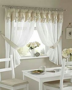 Bows Kitchen Curtains, 5 Sizes Free Tie-backs ,With a Self Attached Pelmet Curtains Living Room, Kitchen Curtains, Home, Curtains, Curtains And Pelmets, Diy Room Decor, Curtain Decor, Curtain Designs, Kitchen Curtain Designs