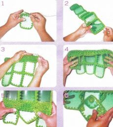 How to make PET bottle bag 07 How to make PET bottle bag 07 Reuse Plastic Bottles, Plastic Bottle Crafts, Recycled Bottles, Bottle Bag, Pet Bottle, Monogram Shirts, Art N Craft, Craft Bags, Crochet Handbags