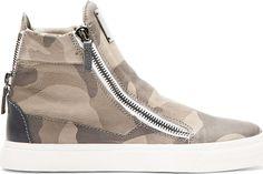 Giuseppe Zanotti Grey Leather Camo High-Top Sneakers on shopstyle.com