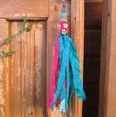 keychain Beautiful  boho Handmade Fabric Tassel by RONITPETERART