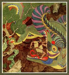 """Edmund Dulac - 'Drawing his sword, he rushed at the monster and flung himself right into his cavernous mouth' from """"The Dragon's Teeth"""" in Tanglewood Tales, 1918"""