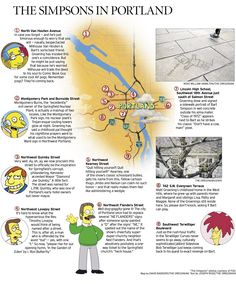 'The Simpsons' map of Portland: A guide to Simpsons-related landmarks and streets in the Portland area. #KeepPortlandWeird