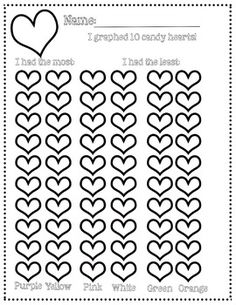 Use this graph to count and graph candy hearts during your Valentine's Day Math stations!Students pull 10 hearts and color on the graph.  They count the number of each and determine which one has the MOST and LEAST!After you've downloaded, please take a look at the other items in my store!Email me with any questions at adam@teacherslearn2.comand visitwww.teacherslearn2.com