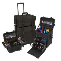 Just arrived! 2 in 1 Black Fabric Rolling Makeup Case Set with Drawers, only $189.95 with Free Shipping! #yazmo