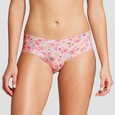 Women's No Show Laser Cut Hipster Floral XS, Pink