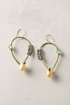 De Petra hand hammered brass  Uovo Earrings with pearls by depetra, $168.00