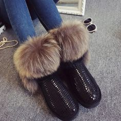 Women's Natural Real Fox Fur Snow Boots 100% Genuine Leather