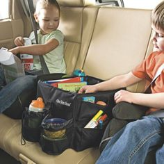 Family Travel Organizer: Not only does our jumbo car organizer offer a place for everything, unlike others, it stays put! Just anchor it to a seatbelt, and it won't shift. Our backseat organizer is rugged and roomy enough to share, with movable dividers to adjust as needed. Nicely insulated, with two drink holders, eight outside pockets, and a carry strap, so you can take it along...