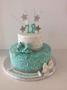 18th Birthday Cake | stars | bows | Gallery | Sugar Divas Cakery | Orlando | Cupcakes | Custom Cakes  www.sugardivascakery.com