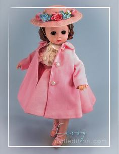 Lissy in Pink Coat and Pink Straw Hat