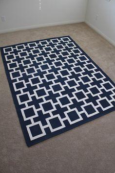 Painted Ikea Erslev rug (regular paint mixed with fabric medium)