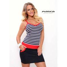 a5b65e962f Masca Fashion spagettipántos, kék-fehér tengerészcsíkos ujjatlan zsebes  miniruha, piros betéttel
