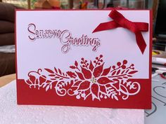 Die Cut Christmas Cards, Stamped Christmas Cards, Christmas Card Crafts, Homemade Christmas Cards, Xmas Cards, Homemade Cards, Poinsettia Cards, Snowflake Cards, Handmade Birthday Cards