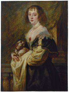 Jacob Jordaens, Peter Paul Rubens (?), Bildnis einer Dame mit Hündchen, um 1640, Eichenholz, 98,6 x 72,9 cm